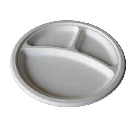 Plato Hondo plástico 3 compartimentos 500 unid